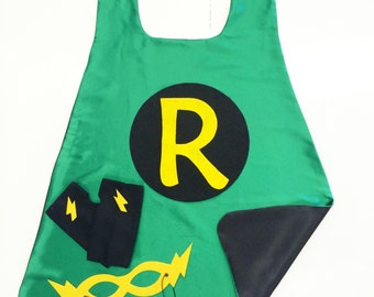 Fast Ship - Green SUPER INITIAL Superhero Cape - 3 color choices - Add optional coordinating Fingerless Gloves and Super Hero Mask - Easter
