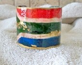 South African gift Cuff bracelet Wrist cuff  Grunge Hand  painted African Flag bangle Tribal Exotic Ethnic