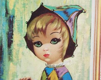 Vintage 1960s Eden Harlequin Portrait / Big Eye Print / Mid Century Modern