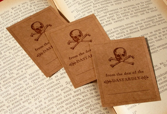 From the Den of the Dastardly Reader - SKULL & CROSSBONES - Letterpress Bookplates - Set of 10