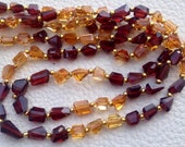 Wow, Full 16 Inch Long Strand, Super Shiny MOZAMBIQUE GARNET-CITRINE Step Cut Faceted Nuggets, 8-9mm Long size,Gorgeous