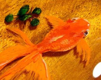 3D Goldfish painting in layers of resin