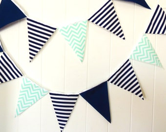 Wedding Bunting, Banner, Pennant Fabric Flags, Baby Shower Navy, Turquoise Blue, White, Nursery Decor, Birthday Party Banner, Photo Prop