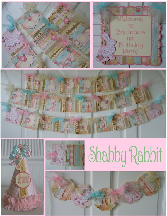 Shabby Chic Rabbit 1st Birthday Party Package  bunny vintage banner Easter spring baby shower