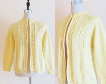 Vintage 1960's Yellow Knit Cardigan Sweater / The Bon Marche Size Medium