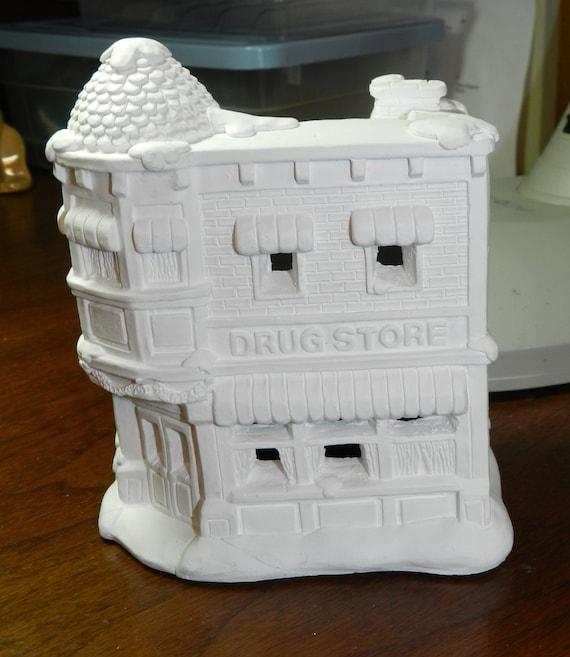 Unpainted Ceramic Christmas Village