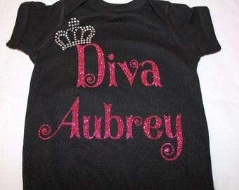 DIVA Princess shirt or bodysuit, Diva Bling Shirt, Diva Shirt, Girls Birthday Shirt, Girls Diva Shirt, Personalized Shirt, Birhtday Diva