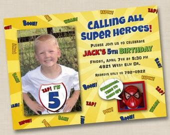 Calling All Superheroes Custom Photo Card Invitation Design- any age