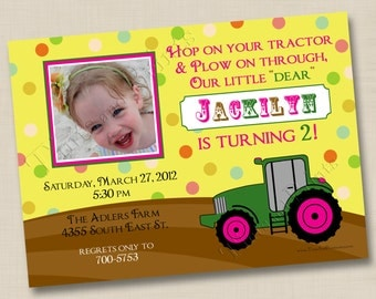 Hop On Your Pink Tractor Custom Birthday Party Photo Invitation Design- any age