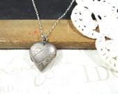 secret LOVE vintage heart shaped locket necklace in silver | valentine gift | love | aniversary