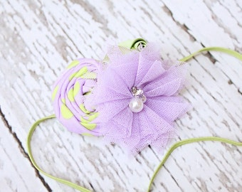 Limey lavender and lime green  rosette and tulle flower headband