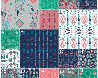 Modern Gem Crib Bedding, Baby Bedding, Crib Set, Coral Emerald Green Gray Navy Aqua Arrow Atzec Diamond Tribal Girl Nursery