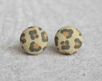 Leopard Fabric Button Earrings