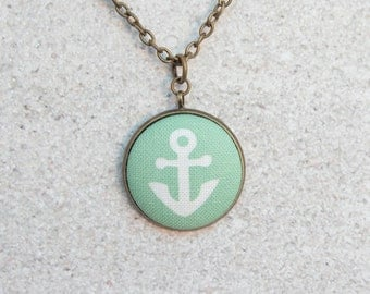 Seafoam Anchor, Fabric Button Pendant Necklace