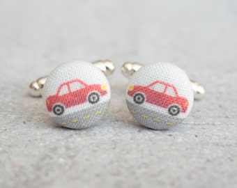Red Car, Fabric Covered Button Cufflinks