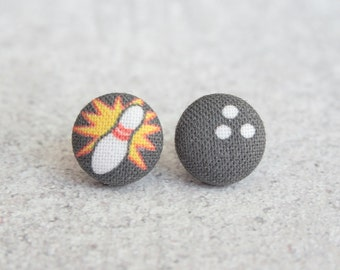 Bowling, Fabric Covered Button Earrings