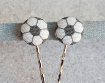 Soccer Fabric Covered Button Bobby Pin Pair