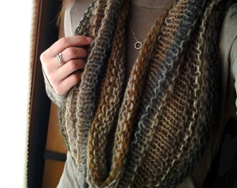Hand Knit Infinity Cowl Scarf in Beautiful Brown and Black