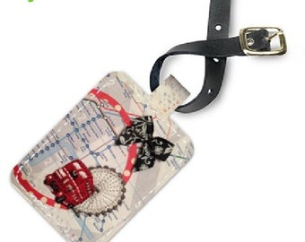 London Red Bus Leather Luggage tag
