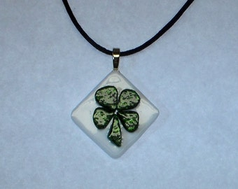 Lucky Four Leaf Clover Fused Glass Pendant