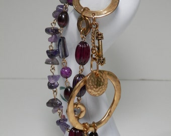 Avant Garde Purple Multi Strand Bracelet Amethyst Nuggets Chips Glass Beads Gold Tone Chain Links Brass Rings Fashionable Trendy Style Gift
