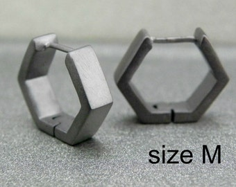 Deep charcoal grey hexad hoop earrings, hexagon hoop earrings, black hoop earrings, men's hoop earrings, custom size, E250 MB
