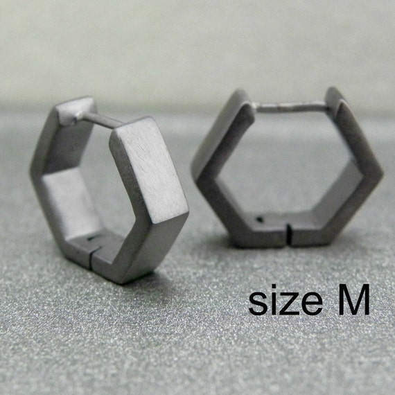 Deep charcoal grey hexad hoop earrings, hexagon hoop earrings, black hoop earrings, men's hoop earrings, custom size, E250 MB