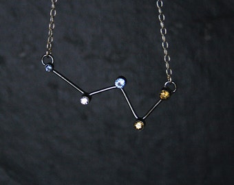 Cassiopeia Constellation Necklace - sterling silver, natural citrine, synthetic blue spinnel and cubic zirconia - READY TO SHIP