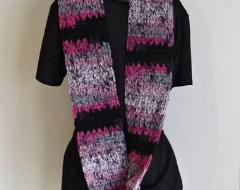 Infinity Scarf in Pinks Greys and Black