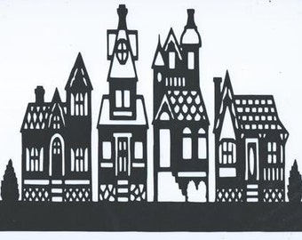 Victorian row houses silhouette