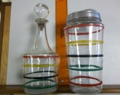 Hocking decanter and cocktail shaker, striped cocktail shaker, vintage whiskey decanter