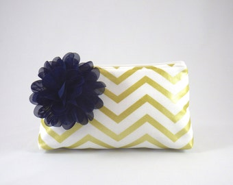 Ivory White & Metallic Gold Chevron Zipper Clutch with Flower Brooch   Cosmetic or Makeup Bag   Custom Bridesmaid Gift   Design Your Own