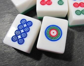 Mah Jongg Tiles VINTAGE Mah Jongg Tiles DOTS Mah Jong Dots Chunky Tiles Nine (9) Vintage Jewelry Art Supplies Vintage Game Pieces (A15)