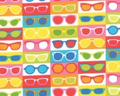 REMNANT! Shades (Sunglasses) Print in Multi (Hot Pink, Yellow, Turquoise)  from the Sanibel Collection, by Moda, 3/4 yard