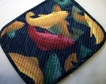 Salmon Fishing Mug Rug Snack Mat Quilt Quiltsy Handmade Quilted FREE U.S. Shipping