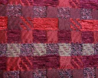 Fabric by the yard, wool, purples woven into squares,  60 inches wide, one yard