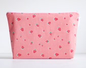 large wet bag. cosmetic bag. pink strawberry organic cotton print.  by Cloud Love Baby