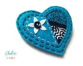 Felt heart brooch - Blue felt heart brooch - Felt and African fabric heart brooch - Heart accesories - Blue heart