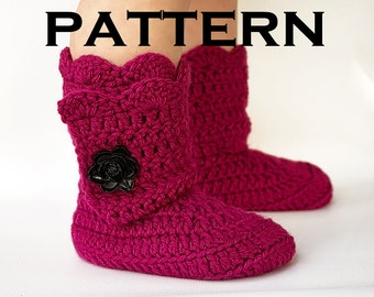 Toddler Scallop Edge Boot Crochet Pattern - PDF