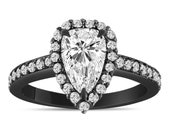 Pear Shape Diamond Engagement Ring 14K Black Gold or White Gold GIA Certified 1.56 Carat Vintage Style Pave Halo Handmade