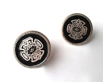 20mm Vintage Studs in Muted Silver & Black Lacquer. Gift Box w/ Ribbon Included. FAST Shipping w/Tracking for US Buyers. The PERFECT Gift.