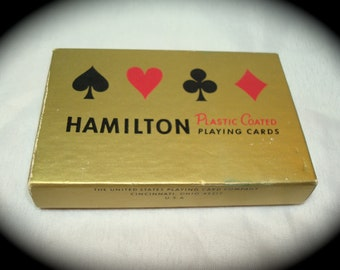 Vintage Hamilton Plastic Coated Roses Playing Cards.