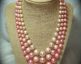 1960s Pink Beaded Triple Strand and Earring Set