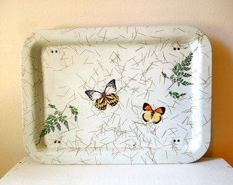 Vintage Tin TV Tray with Butterflies, Folding Bed Tray, Cottage Decor, ON SALE