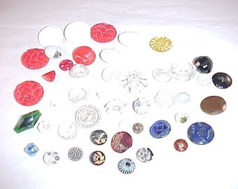 Glass Clothing Buttons Lot of 45