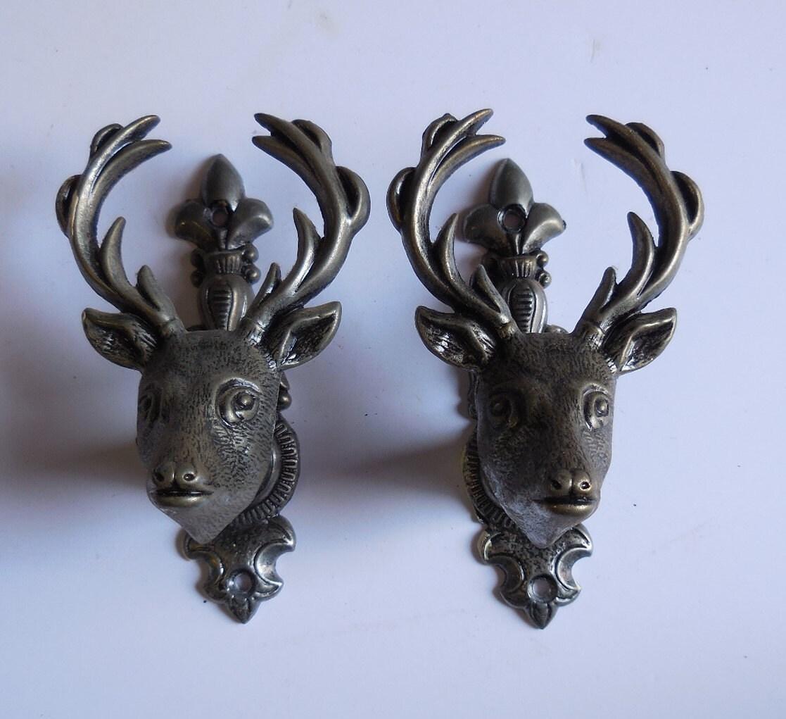 Two Deer Head Knobs Drawer Pulls Vintage Silver Buck Antlers
