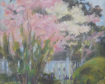 Sale, Dogwood, Dogwood at the Hermitage, Nashville, Tennessee, Wall Decor, Spring landscape, Plein Air, Original oil by Carol DeMumbrum