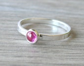 Sterling silver ruby ring gemstone stacking ring sterling silver ring pink