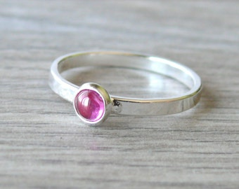 Sterling silver ruby ring pink gemstone stacking ring