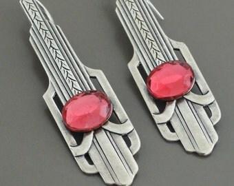 Art Deco Earrings - Vintage Earrings - Silver Earrings - Rose Pink Earrings - Pink Earrings - handmade jewelry